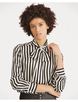 Tie Neck Striped Silk Blouse by Ralph Lauren