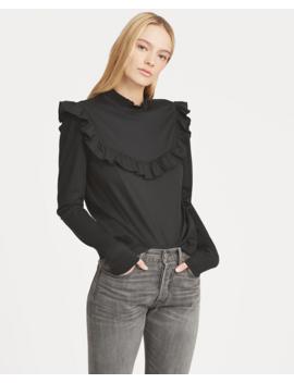 Ruffle Trim Cotton Blend Top by Ralph Lauren