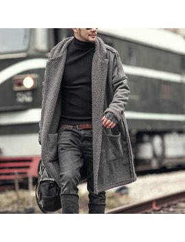 Plus Size Mid Length Double Side Wearable Thicken Fur Warm Wool Blend Coat For Men by Newchic