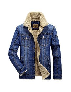 Plus Size Fleece Jacket Multi Pockets Single Breasted Inside Fleece Denim Jacket For Men by Newchic