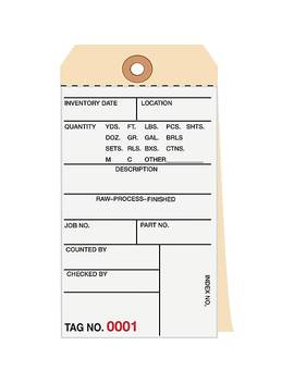 2 Part Carbonless Numbered Inventory Tags: 2,500 2,999, 500/Case by Si Products
