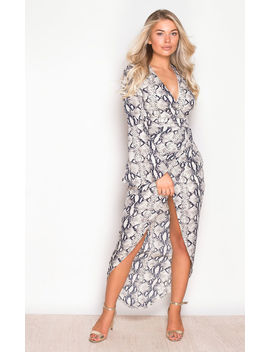 Indie Wrap Flute Sleeve Maxi Dress Snake Print by Girl In Mind