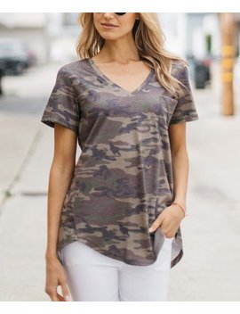 Muted Camo V Neck Pocket Tee   Women &Amp; Plus by Zulily