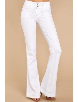 Always A Statement White Flare Jeans by Sneak Peek