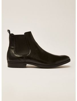 Black Leather Unity Chelsea Boots by Topman