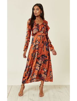 Satin Tan Floral Frill Midi Dress by Liquorish
