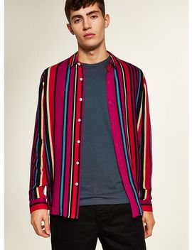 Pink Multi Stripe Long Sleeve Shirt by Topman
