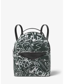 Jessa Small Graffiti Leather Convertible Backpack by Michael Michael Kors