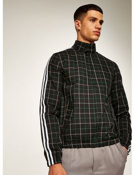 Black Side Stripe Checked Harrington Jacket by Topman