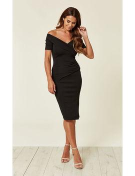 Bardot Off Shoulder Dress Black by Feverfish