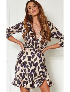 purple-leopard-print-wrap-frill-mini-dress by john-zack