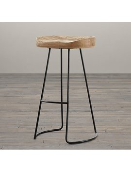 1950s Oak Tractor Seat Stool by Restoration Hardware