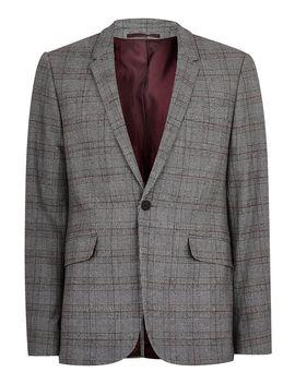 Gray With Maroon Check Skinny Blazer by Topman
