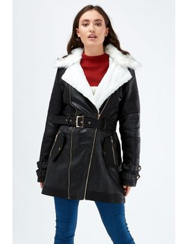 Faux Fur Lined Pu Trench Coat by Select