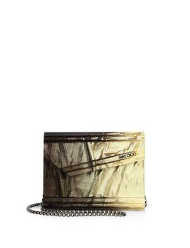 Women's Metallic Candy Degrade Crinkled Lame Fabric Acrylic Clutch by Jimmy Choo