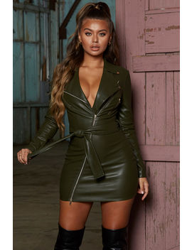 Hell For Leather Zip Up Biker Mini Dress In Dark Green by Oh Polly