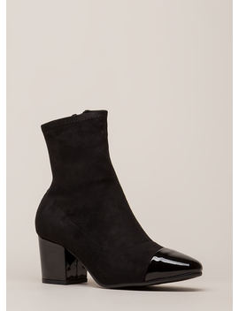 Feather In My Cap Toe Block Heel Booties by Go Jane