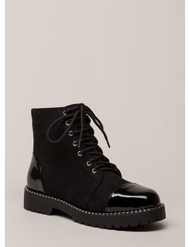 To Cap It Off Faux Suede Combat Boots by Go Jane