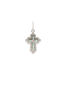 Floral Cross Necklace Charm by Alex And Ani