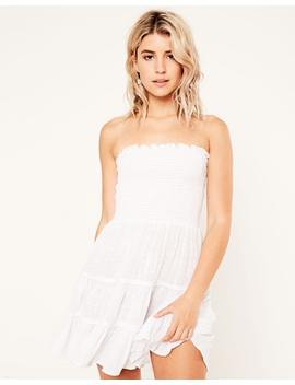 Strapless Shirred Dress by Glassons