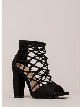 Caught Ya Netted Chunky Peep Toe Heels by Go Jane