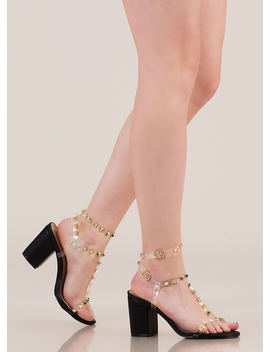 Clearly A Stud Strappy Block Heels by Go Jane