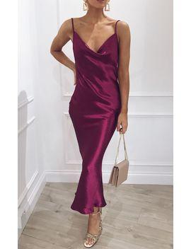 Keisha Slip Midi Dress   Magenta by Pretty Lavish