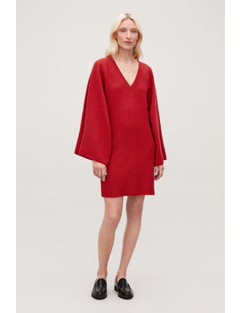 Cape Sleeved Wool Knit Dress by Cos