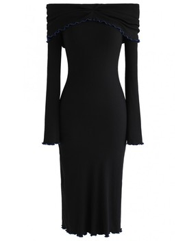 Dream More Off Shoulder Knit Dress In Black by Chicwish
