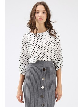 Spot On Polka Dots Smock Top In White by Chicwish
