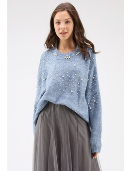 Pearly Perfection Oversize Knit Sweater In Dusty Blue by Chicwish