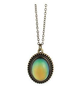 Goldtone Oval Mood Pendant Necklace by Zulily