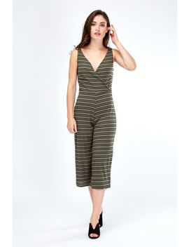 Double Stripe Rib Culotte Jumpsuit by Select