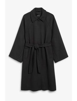Belted Long Coat by Monki