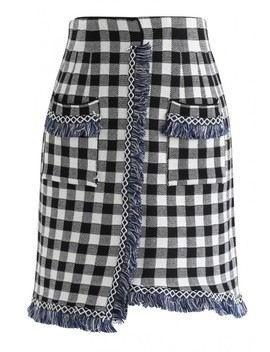 Take The Plaid With Tassel Asymmetric Knit Skirt by Chicwish