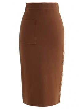 Spiffy Always Pocket Knit Pencil Skirt In Caramel by Chicwish