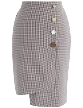 Asymmetric Refinement Flap Pencil Skirt In Wine Gingham by Chicwish