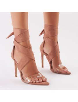 Hotspot Tie Up Heels With Clear Perspex Strap In Nude Suede by Public Desire