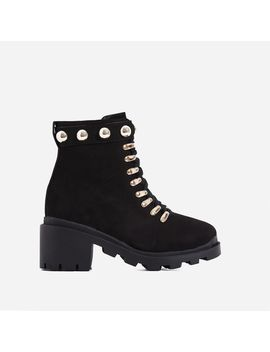 Winky Studded Chunky Sole Lace Up Ankle Biker Boot In Black Faux Suede by Ego