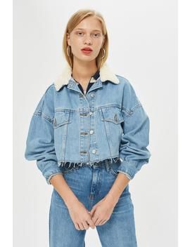Borg Collar Hacked Denim Jacket by Topshop