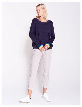 Women's Blue Multi Color Rib Raglan by Sundry