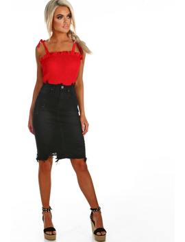 Sinner Black Distressed Denim Midi Skirt by Pink Boutique