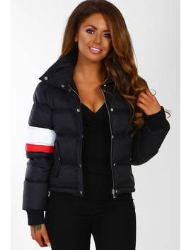 Kensington Girl Black Colour Block Sleeve Cropped Puffer Coat by Pink Boutique