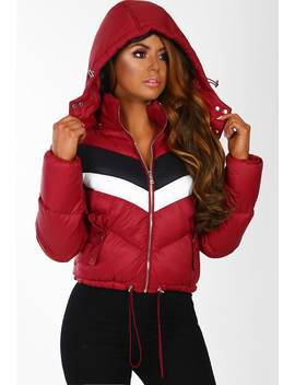 On The Street Burgundy Colour Block Cropped Hooded Puffer Coat by Pink Boutique