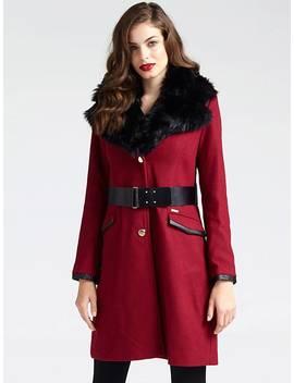 Faux Fur Lapel Coat by Guess