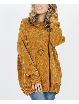 Mustard Crewneck Oversize Chenille Sweater   Women by Zulily