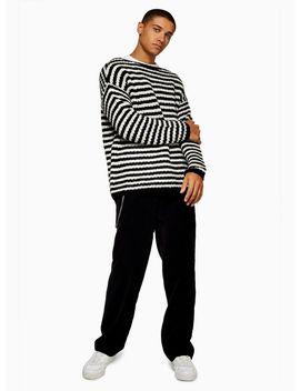Black White Stripe Fisherman Sweater by Topman