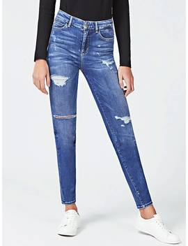 Skinny Jeans With Abrasions by Guess