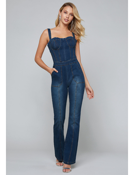 Lorent Denim Jumpsuit by Bebe