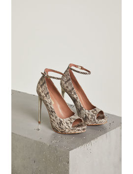 Becky Snakeskin Leather Ankle Strap Pump by Bcbgmaxazria